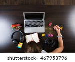 young woman working at the desk ...   Shutterstock . vector #467953796