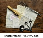 old recipes with wire whisk and ... | Shutterstock . vector #467992535