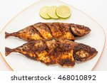 Small photo of Mackerel fish fry in a plate. Prepared in Kerala style with hot and spicy