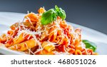 pasta penne with tomato... | Shutterstock . vector #468051026