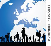 migration people with map in... | Shutterstock .eps vector #468073856