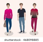 stylish cute guys in... | Shutterstock .eps vector #468098885