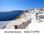 white houses and blue domes of... | Shutterstock . vector #468171995