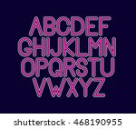retro font. line alphabet   Shutterstock .eps vector #468190955