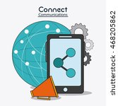 smartphone global megaphone... | Shutterstock .eps vector #468205862