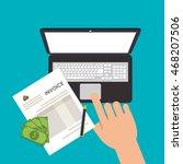 laptop bills document payment... | Shutterstock .eps vector #468207506