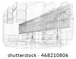 sketch perspective stripes... | Shutterstock . vector #468210806