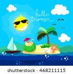 hello summer vector illustration   Shutterstock .eps vector #468211115