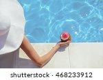 elegant young girl drinking... | Shutterstock . vector #468233912