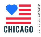 love city chicago with usa flag ...   Shutterstock .eps vector #468240635