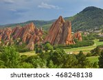 Red sandstone in Roxborough State Park in Colorado - stock photo