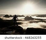 silhouette of tourist with... | Shutterstock . vector #468263255