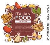 pasta ingredients  italian food ... | Shutterstock .eps vector #468270476