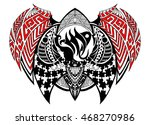 tribal style zodiac sign  ... | Shutterstock .eps vector #468270986