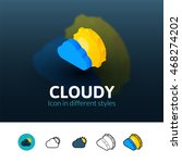 cloudy color icon  vector...