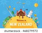 flat design  new zealand's... | Shutterstock .eps vector #468279572