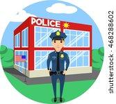 a police officer stands near a... | Shutterstock .eps vector #468288602
