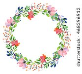 watercolor wreath illustration. ... | Shutterstock . vector #468296912