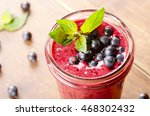 blueberry healthy smoothie on... | Shutterstock . vector #468302432