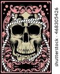 skull girl vector tattoo art | Shutterstock .eps vector #468305426