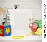 white photo frame mock up in... | Shutterstock . vector #468309242