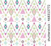 tribal art boho seamless... | Shutterstock .eps vector #468313772