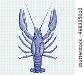 lobster. hand drawn sketch.... | Shutterstock .eps vector #468335012