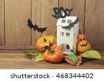 halloween decoration with house ... | Shutterstock . vector #468344402