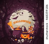 halloween background with... | Shutterstock .eps vector #468359186