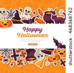 halloween concept banner with... | Shutterstock .eps vector #468368762