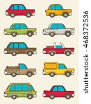 set of vintage cars  vector... | Shutterstock .eps vector #468372536
