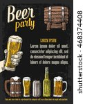 two hands holding beer glasses... | Shutterstock .eps vector #468374408