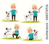 Stock vector set of characters boy with his beloved dog vector illustration of a flat design 468376916