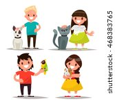 Stock vector set of characters children with pets vector illustration of a flat design 468383765