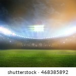 stadium in lights and flashes 3d | Shutterstock . vector #468385892