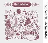 big fruit set collection vector ... | Shutterstock .eps vector #468392672