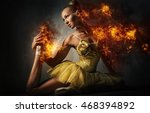 Ballerina In A Fire. Digital Art