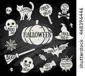 set of halloween characters... | Shutterstock .eps vector #468396446