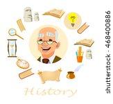 history lesson. history teacher.... | Shutterstock .eps vector #468400886