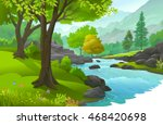 peaceful forest enriched with...   Shutterstock .eps vector #468420698