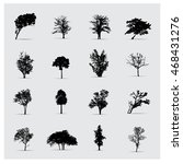 set of vector tree silhouettes. | Shutterstock .eps vector #468431276
