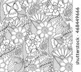 doodle abstract flower. vector... | Shutterstock .eps vector #468449666