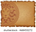 old paper background with lion...   Shutterstock .eps vector #468453272