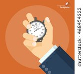 hand holding stopwatch. vector... | Shutterstock .eps vector #468454322
