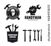 handyman labels badges emblems... | Shutterstock .eps vector #468493835