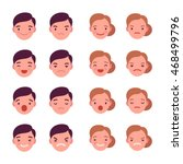 set of 16 different emotions.... | Shutterstock .eps vector #468499796
