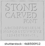 stone carved font. alphabet on... | Shutterstock .eps vector #468500912