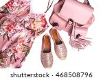 Stock photo modern women s pink dress shoes and backpack on white background 468508796