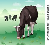 cows grazing on green meadow.... | Shutterstock .eps vector #468510056