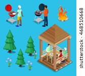 isometric family grill bbq... | Shutterstock .eps vector #468510668